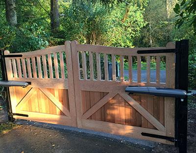 Wooden driveway gate.